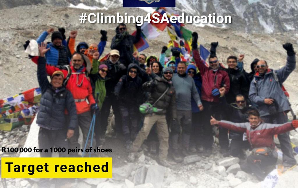#Climbing4SAeducation reaches +1000 school shoes