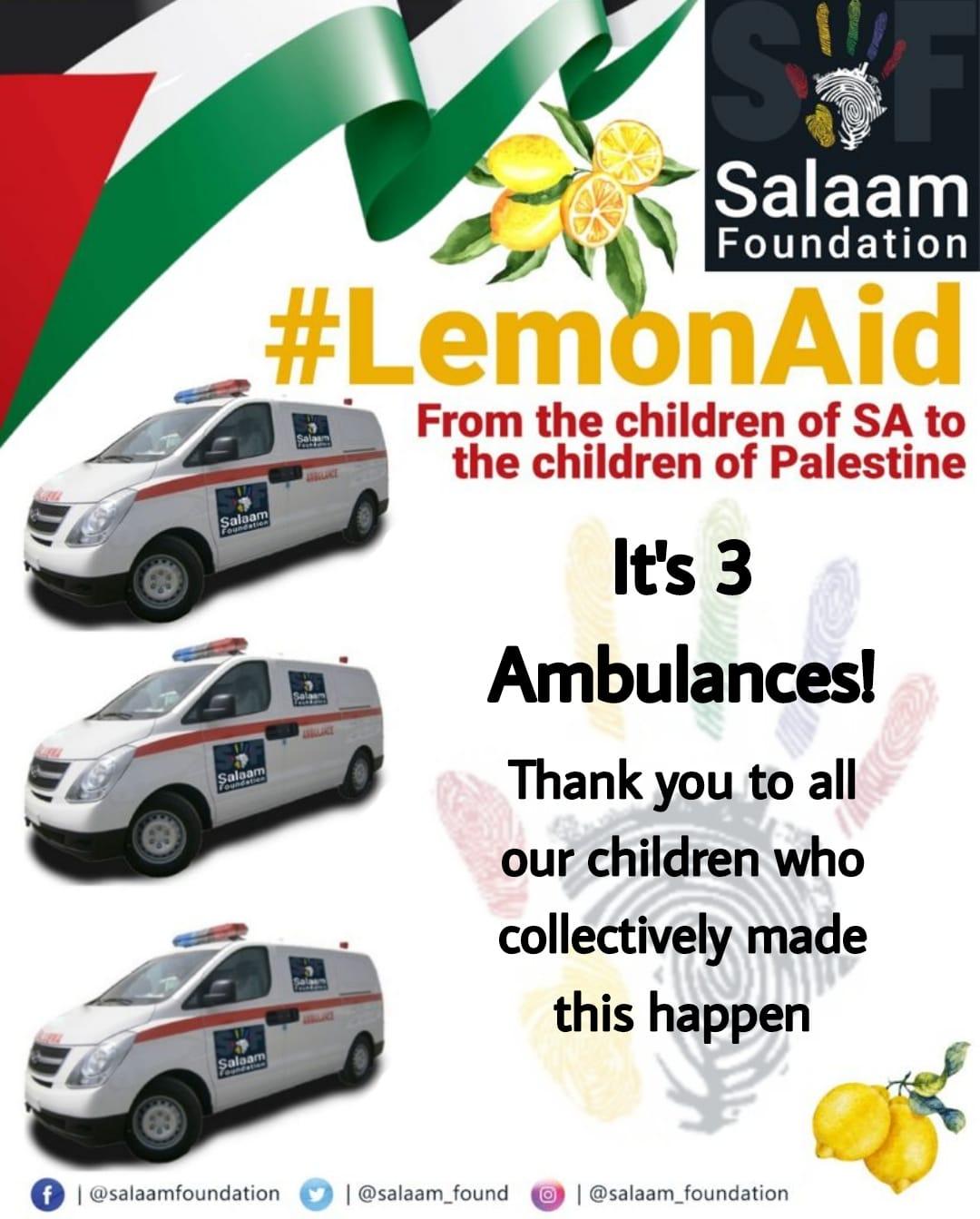 LemonAID for Gaza – It's 3 ambulances